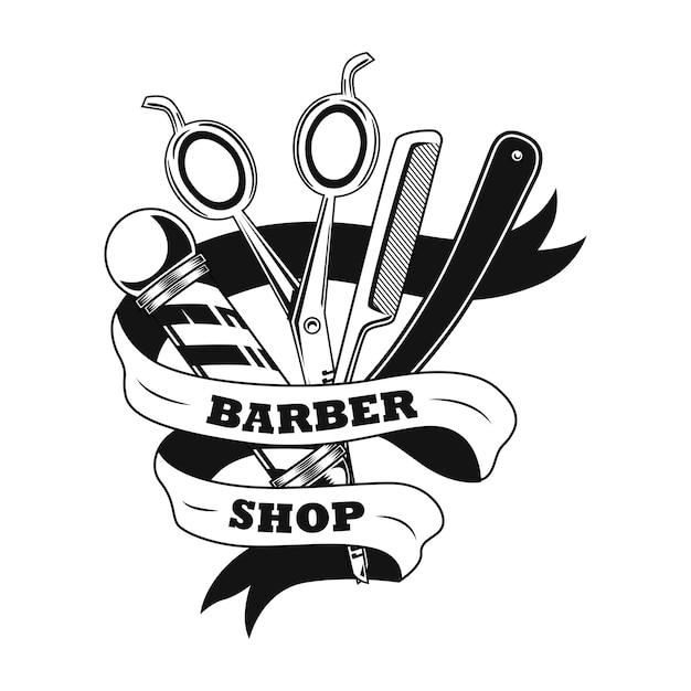 Ilustração do vetor de ferramentas de barbeiro. tesoura, lâmina de barbear, vara e fita com amostra de texto Vetor grátis