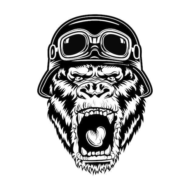 Ilustração do vetor de gorila com raiva. cabeça de animal que ruge usando capacete de motociclista Vetor grátis
