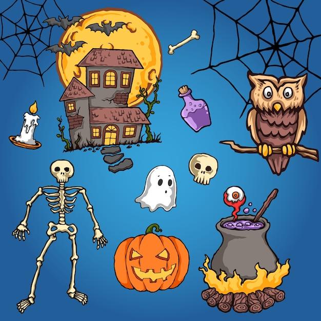 Ilustração do vetor de halloween de coruja Vetor Premium