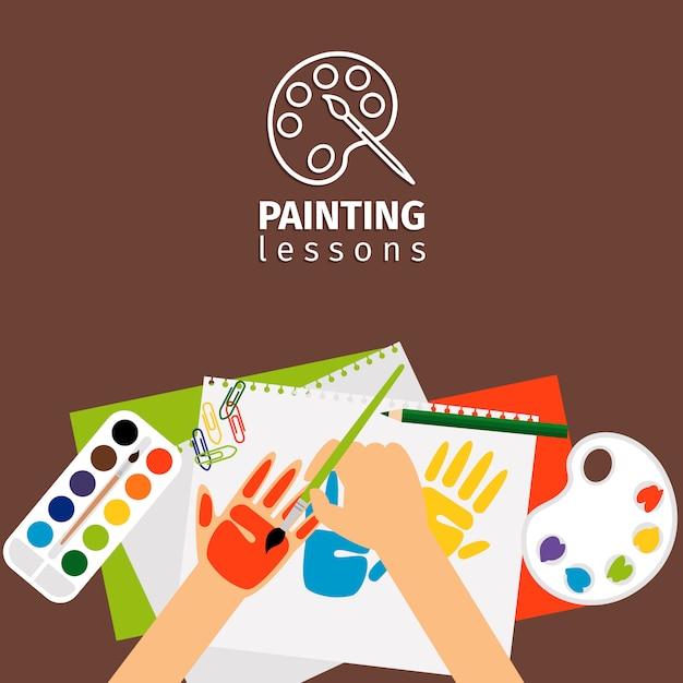 Ilustração do vetor de lições de pintura de crianças Vetor Premium