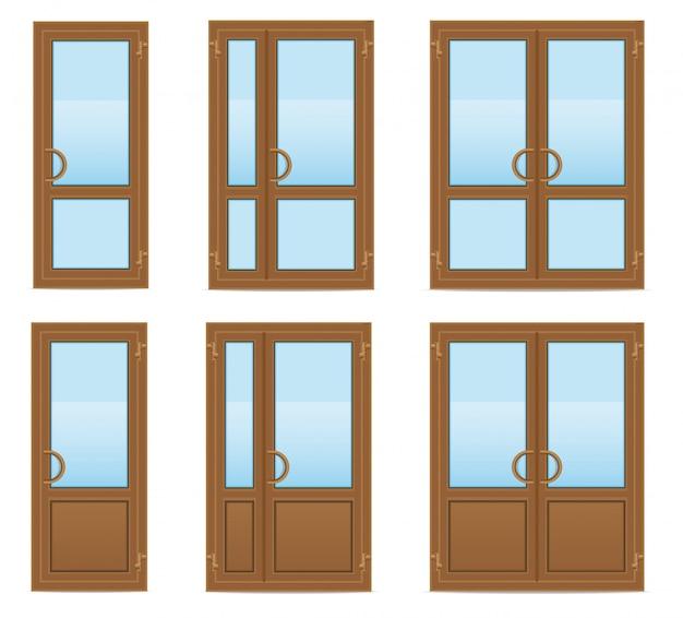 Ilustração do vetor de portas de plástico transparente marrom Vetor Premium