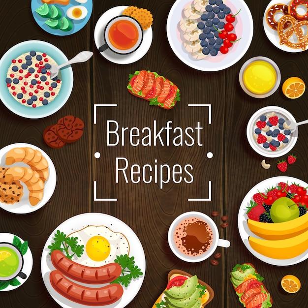 Ilustração do vetor de receitas de café da manhã Vetor grátis