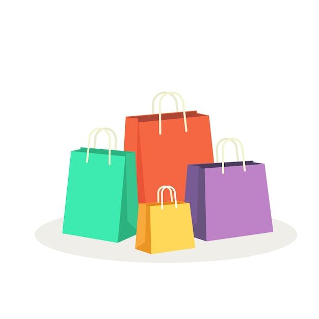 Ilustração do vetor de sacolas coloridas Vetor Premium