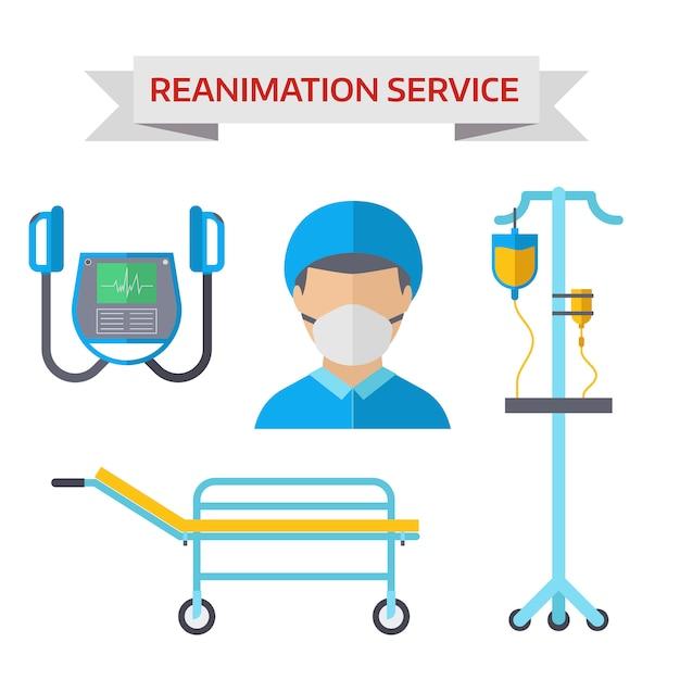 Ilustração do vetor de símbolos de reanimação de ambulância Vetor Premium