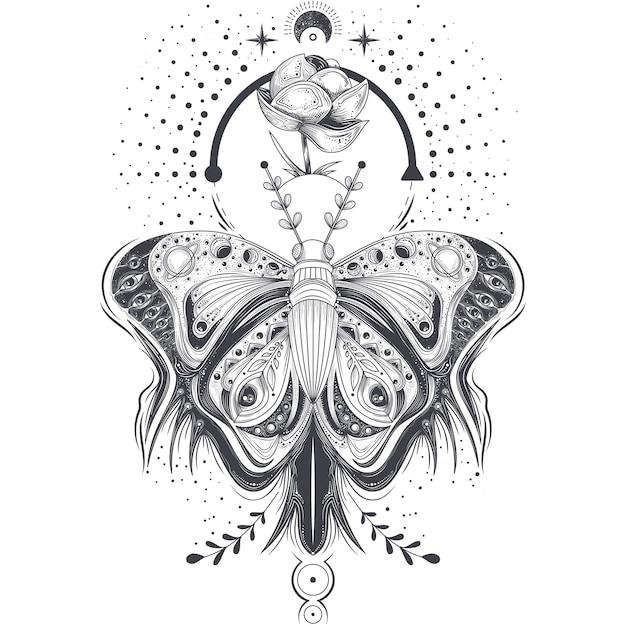 Ilustração do vetor de um esboço, borboleta de arte de tatuagem em estilo abstrato, símbolo místico e astrológico. Vetor grátis