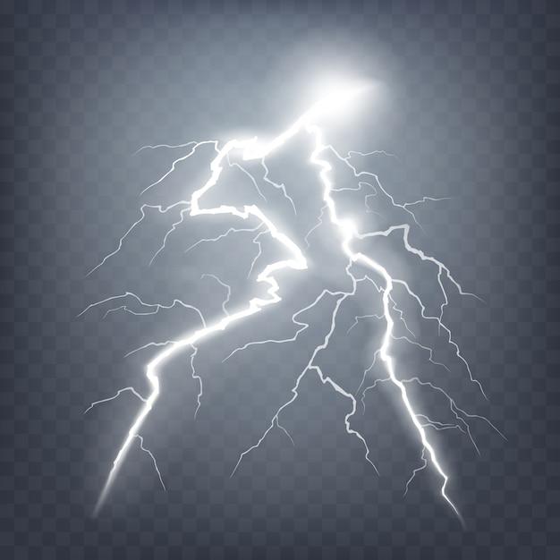 Ilustração do vetor de um estilo realista de raios incandescentes brilhantes isolados em um efeito de luz natural escuro. Vetor grátis