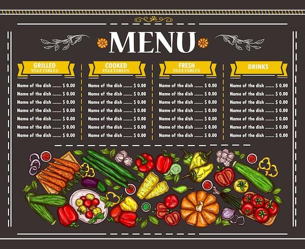 Ilustração do vetor de um menu de menu vegetariano Vetor grátis