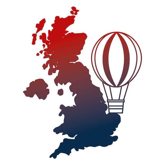 Ilustração do vetor do balão de ar quente do mapa do reino unido Vetor Premium