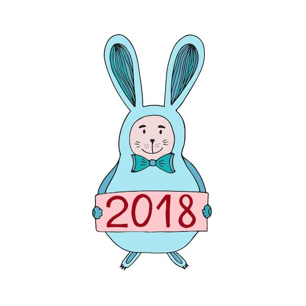 Ilustração do vetor do coelho bonito do natal com o número 2018. cartão de ano novo. Vetor Premium