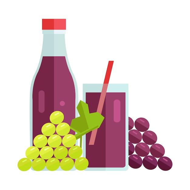 Ilustração do vetor do conceito do suco de uva. Vetor Premium