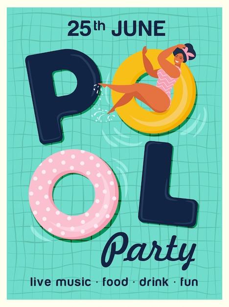 Ilustração do vetor do convite da festa na piscina. vista superior da piscina com piscina flutua. Vetor Premium