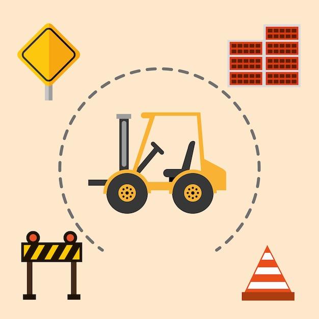 Ilustração do vetor do equipamento das ferramentas da parede de tijolos do cone da barreira da empilhadeira da maquinaria de construção Vetor Premium
