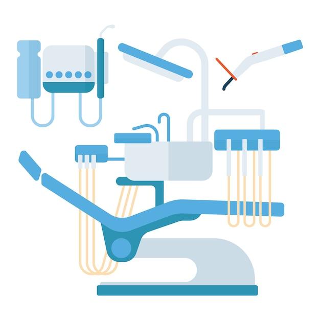 Ilustração do vetor do equipamento do stomatology da cadeira do dentista. Vetor Premium