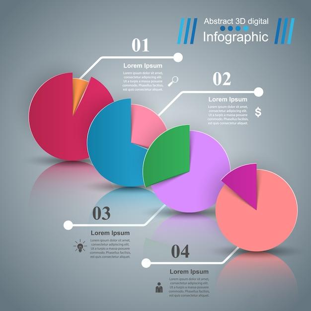 Ilustração do vetor do estilo do origâmi de infographics do negócio. Vetor Premium