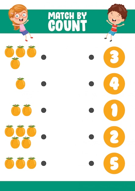 Ilustração do vetor do jogo pelo exercício de contagem Vetor Premium