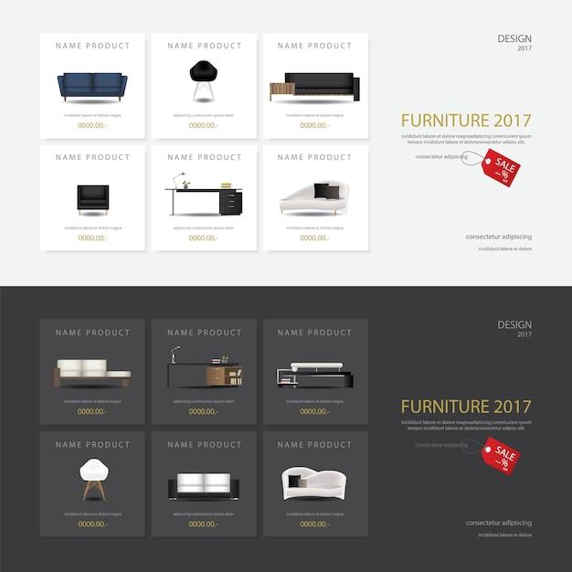 Ilustração do vetor do molde do projeto da venda da mobília de 2 bandeiras Vetor Premium