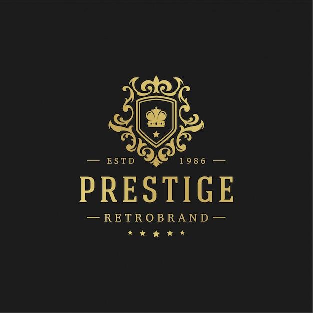 Ilustração do vetor do molde do projeto do logotipo luxuoso. Vetor Premium