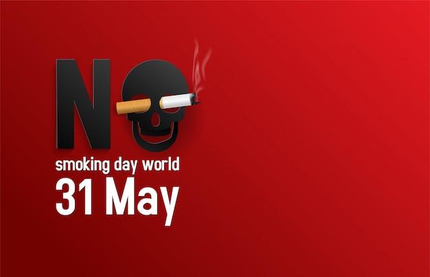 Ilustração do vetor do mundo não fumadores do dia do conceito. nenhum dia de tabaco Vetor Premium