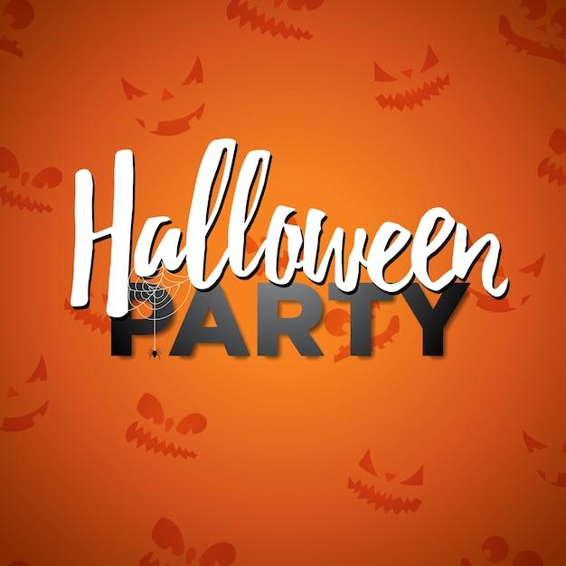Ilustração do vetor do partido do dia das bruxas com escrita da caligrafia no fundo alaranjado. design do feriado com cara assustadora abstrata para o convite do partido, cartão, bandeira, cartaz. Vetor Premium