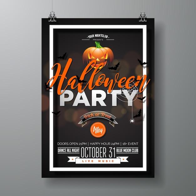 Ilustração do vetor do partido do dia das bruxas com pumpkinm no fundo preto. design de férias com aranhas e morcegos para convite de festa, cartão, cartaz, cartaz. Vetor Premium
