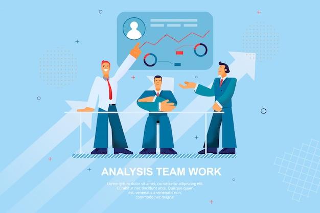 Ilustração do vetor do trabalho da equipe da análise da bandeira lisa Vetor Premium