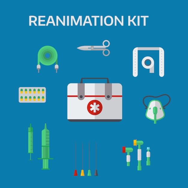Ilustração do vetor ícones de reanimação de ambulância Vetor Premium