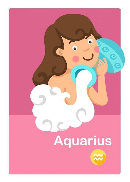 Ilustração do vetor isolado do aquarius. signos do zodíaco Vetor Premium