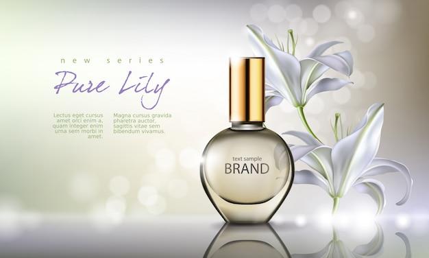 Ilustração do vetor perfume em uma garrafa de vidro em um fundo com lírio branco luxuoso Vetor grátis