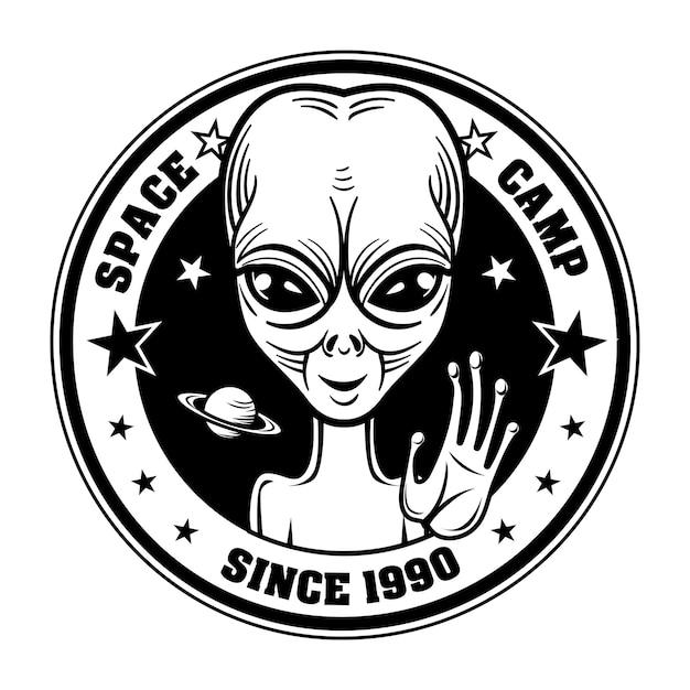 Ilustração do vetor retro alienígena saudação pessoas. emblema do acampamento espacial com caráter extraterrestre Vetor grátis