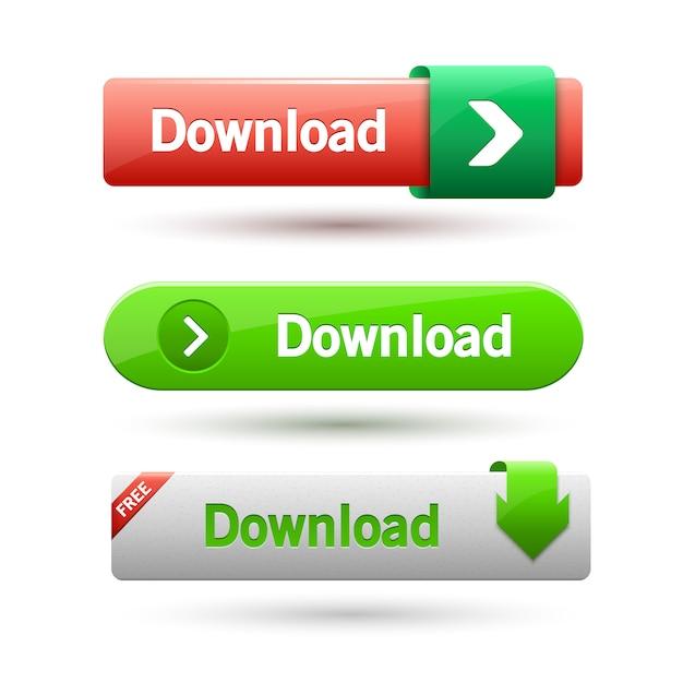 Ilustração dos botões de download. Vetor Premium