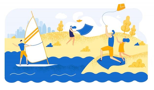 Ilustração dos caráteres no tempo ventoso do verão da praia. Vetor Premium
