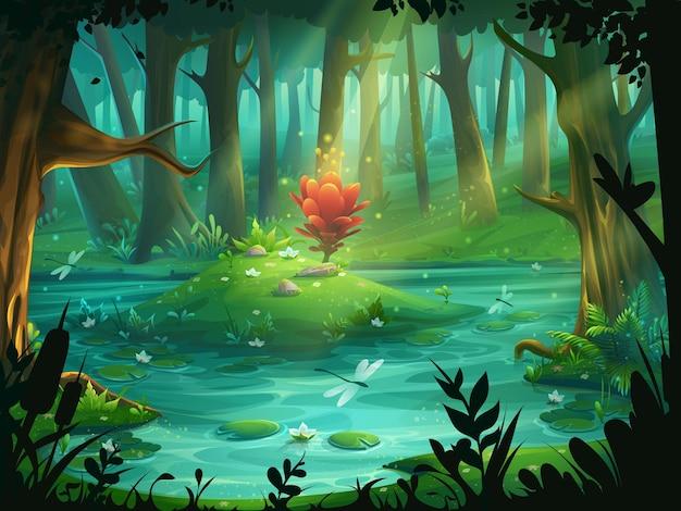 Ilustração dos desenhos animados a flor escarlate em uma ilha em um pântano na floresta. Vetor Premium