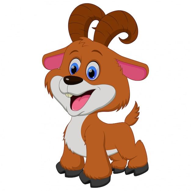 Ilustração dos desenhos animados bonitos cabra marrom Vetor Premium