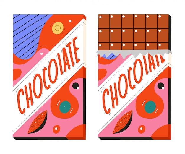 Ilustração dos desenhos animados da barra de chocolate isolada no fundo branco. Vetor Premium