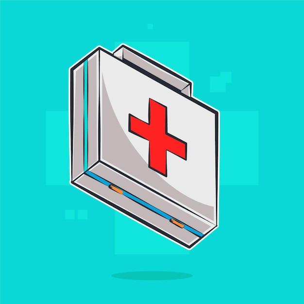 Ilustração dos desenhos animados da caixa médica Vetor Premium