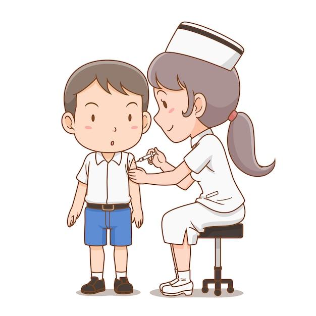 Ilustração dos desenhos animados da enfermeira dando uma injeção no menino do aluno. Vetor grátis