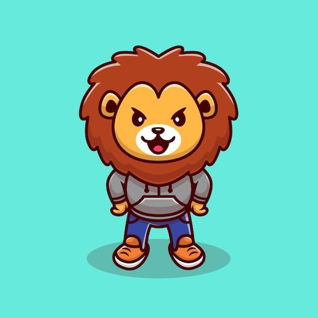 Ilustração dos desenhos animados da mascote do leão bonito. conceito de ícone de animais selvagens Vetor grátis