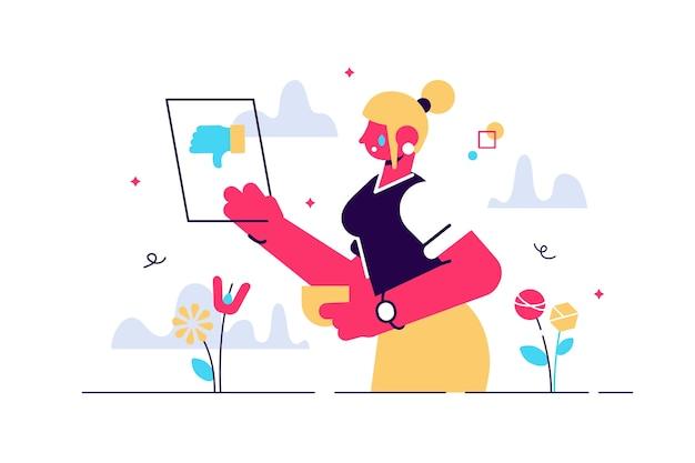 Ilustração dos desenhos animados da mulher estava chorando. mensagem de telefone ruim e desagradável. Vetor Premium