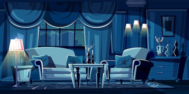 Ilustração dos desenhos animados da sala escura à noite. interior moderno com sofá, poltrona Vetor grátis