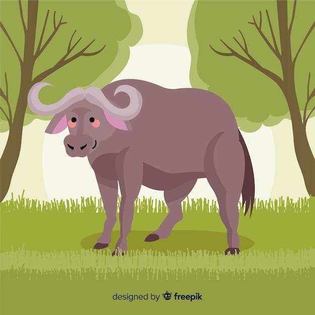 Ilustração dos desenhos animados de búfalo da vida selvagem Vetor grátis