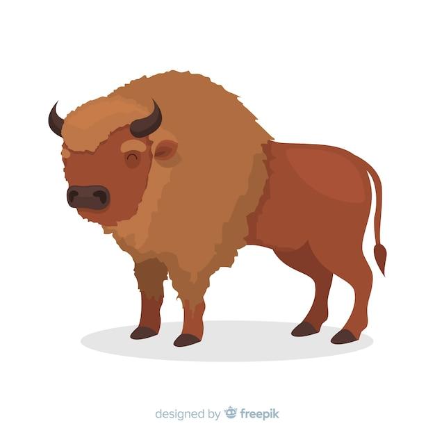 Ilustração dos desenhos animados de búfalo marrom com chifres Vetor grátis