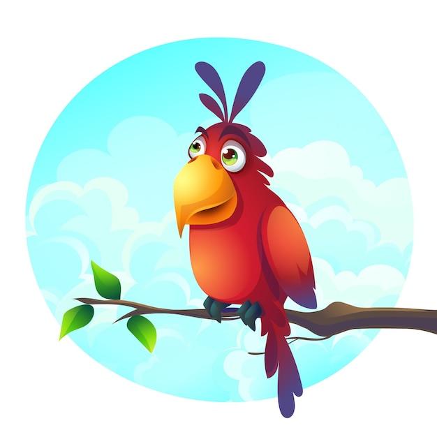Ilustração dos desenhos animados de fundo de um papagaio engraçado em um galho Vetor Premium