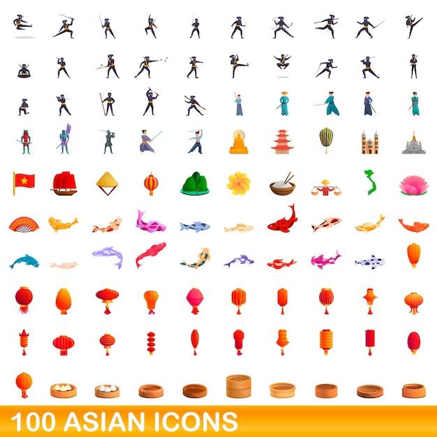 Ilustração dos desenhos animados de ícones asiáticos isolados no branco Vetor Premium