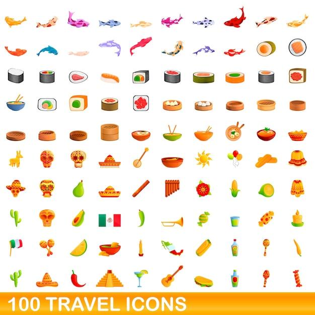 Ilustração dos desenhos animados de ícones de viagens isolados no branco Vetor Premium