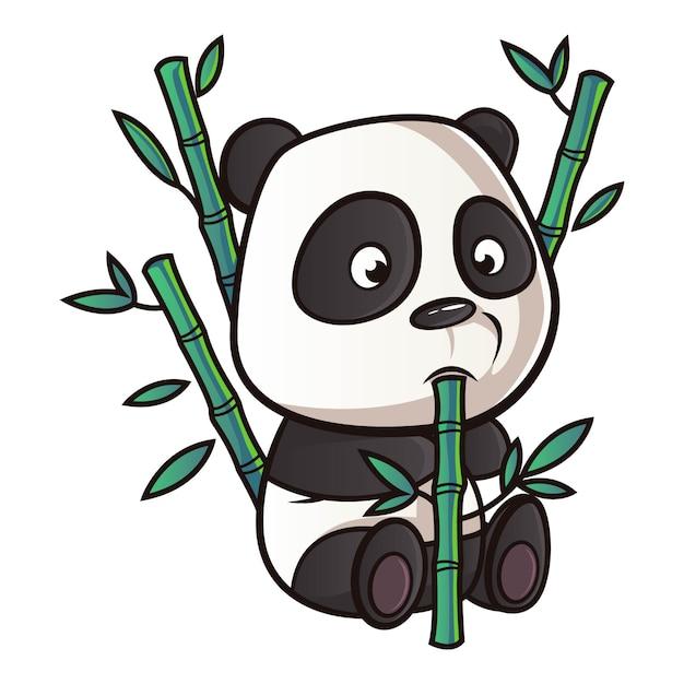 Ilustração dos desenhos animados de panda. Vetor Premium