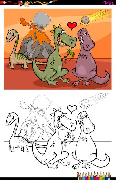Ilustracao Dos Desenhos Animados De Personagens De Dinossauros