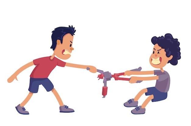 Ilustração dos desenhos animados de rivalidade de irmãos. irmãos gritando e lutando pelo brinquedo. pronto para usar o modelo de personagem para comercial, animação, impressão. herói cômico Vetor Premium