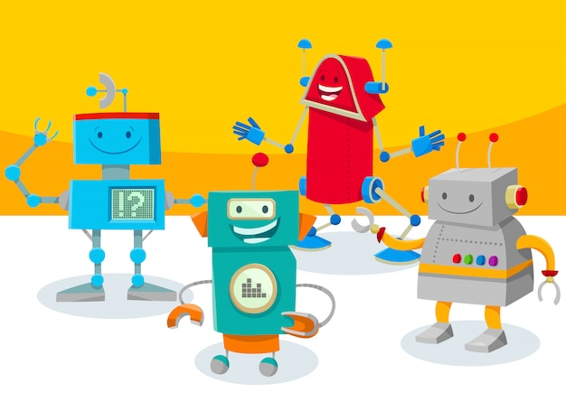 Ilustração dos desenhos animados de robôs ou personagens de droids Vetor Premium