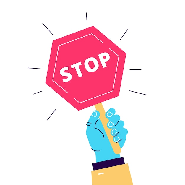 Ilustração dos desenhos animados de sinal de trânsito parar segurar na mão. objeto em branco Vetor Premium