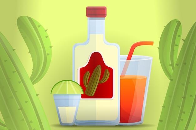 Ilustração dos desenhos animados de tequila mexicana Vetor Premium